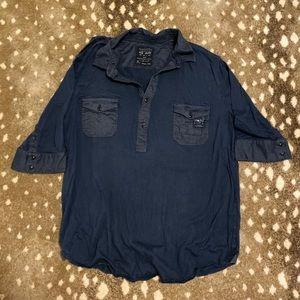 Rag and bone navy safari style shirt
